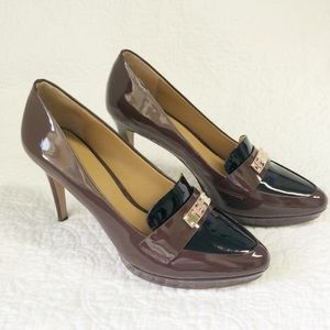 Coach black/merlot patten leather pumps